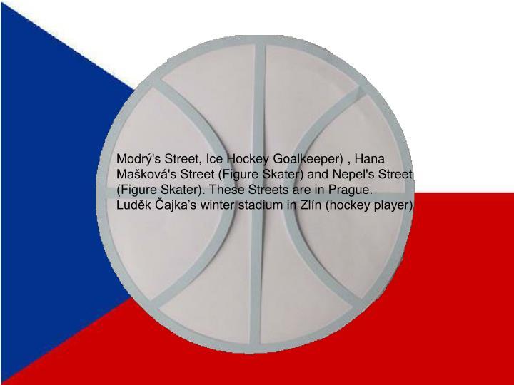 Modrý's Street, Ice Hockey Goalkeeper) , Hana Mašková's Street (Figure Skater) and Nepel's Street (Figure Skater). These Streets are in Prague.