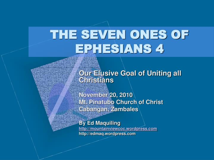 the seven ones of ephesians 4 n.