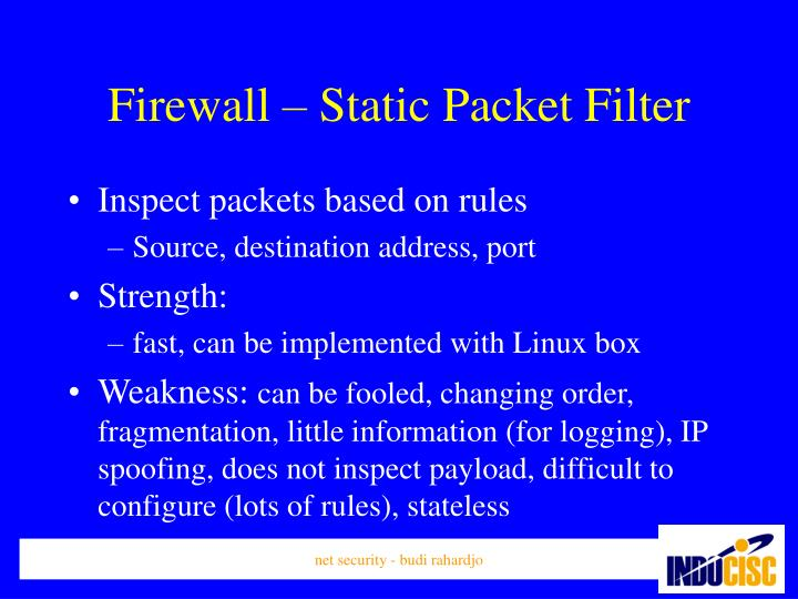 Firewall – Static Packet Filter