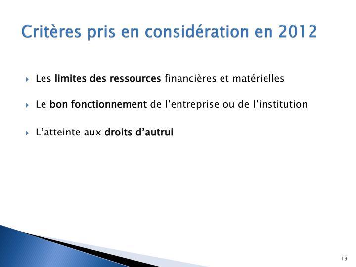 Critères pris en considération en 2012