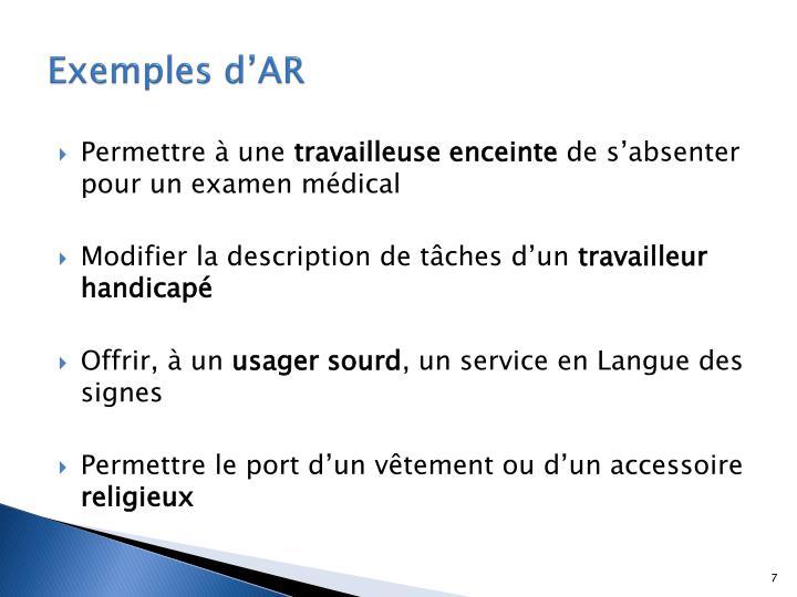 Exemples d'AR