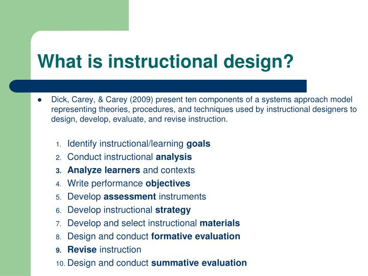 development and evaluation of instructional materials Training instructional systems development into design and development evaluation is a central development - develop all training materials in accordance.