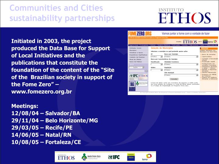 Communities and Cities sustainability partnerships