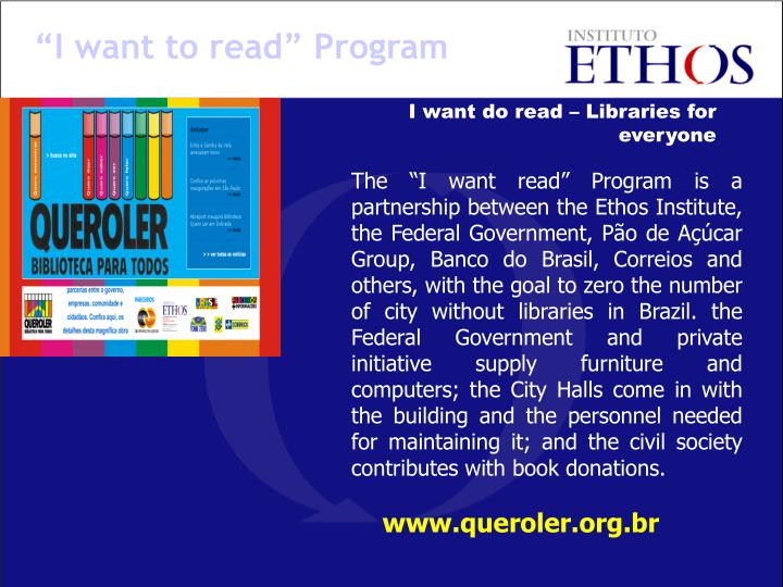 """I want to read"" Program"