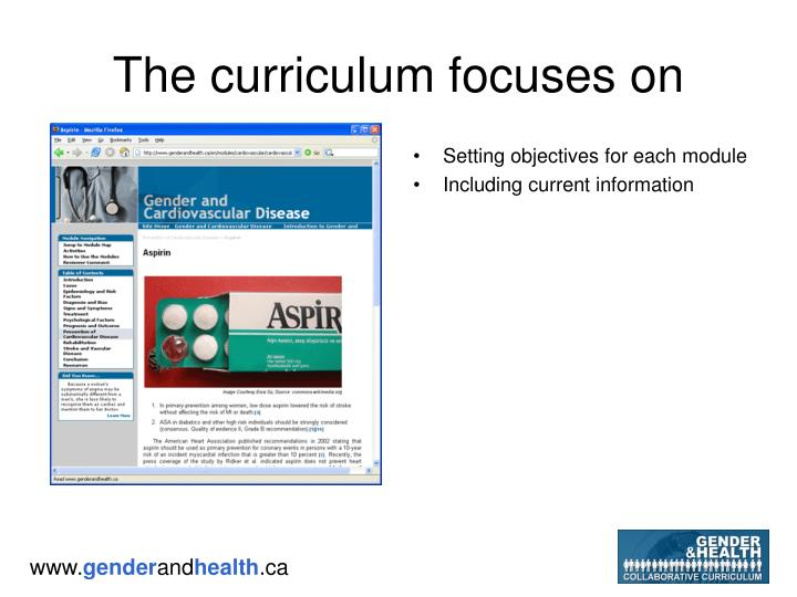 The curriculum focuses on