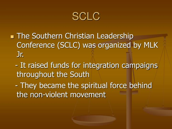 an analysis of the southern christian leadership conference and the civil rights movement in the uni The sclc had a large role in the american civil rights movement history on january 10, 1957, following the montgomery bus boycott victory birmingham, alabama protest april-may 1963 this campaign involved the sclc (southern christian leadership conference) and was one of the.