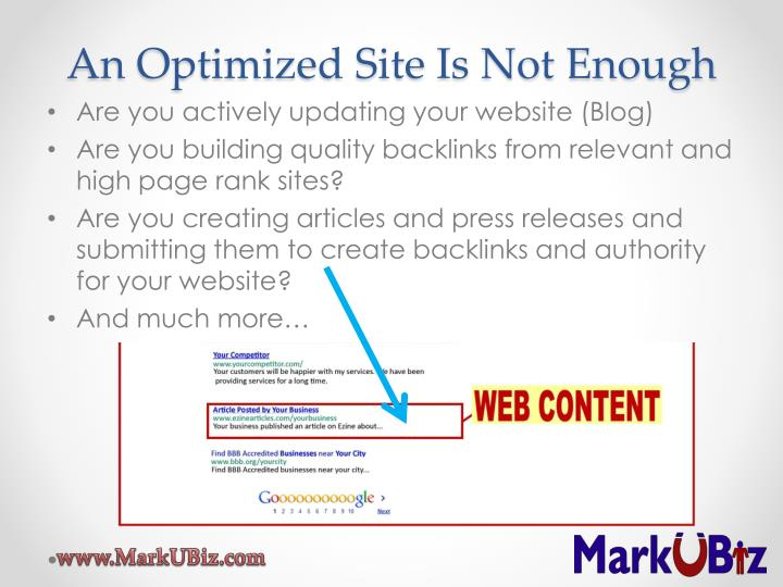 An Optimized Site Is Not Enough