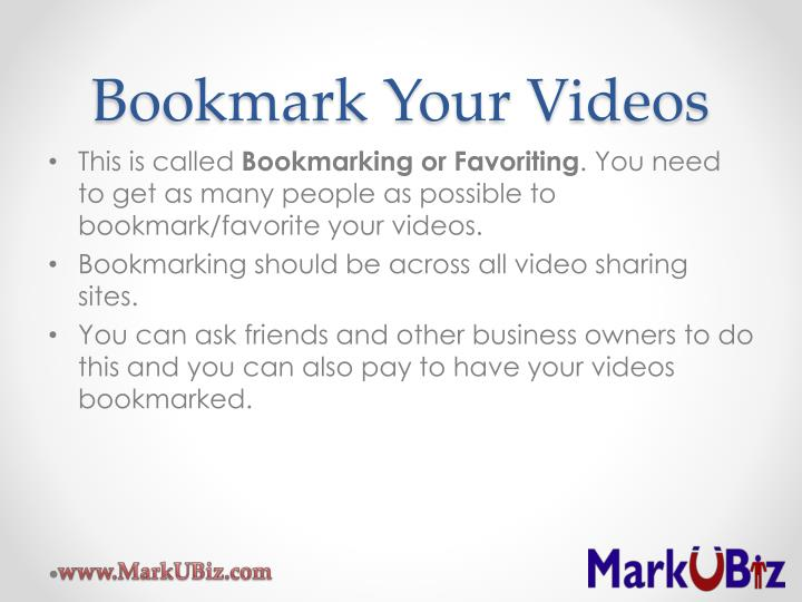Bookmark Your Videos