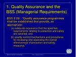 1 quality assurance and the bss managerial requirements