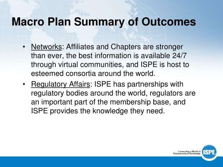 Macro Plan Summary of Outcomes