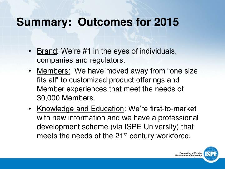 Summary:  Outcomes for 2015