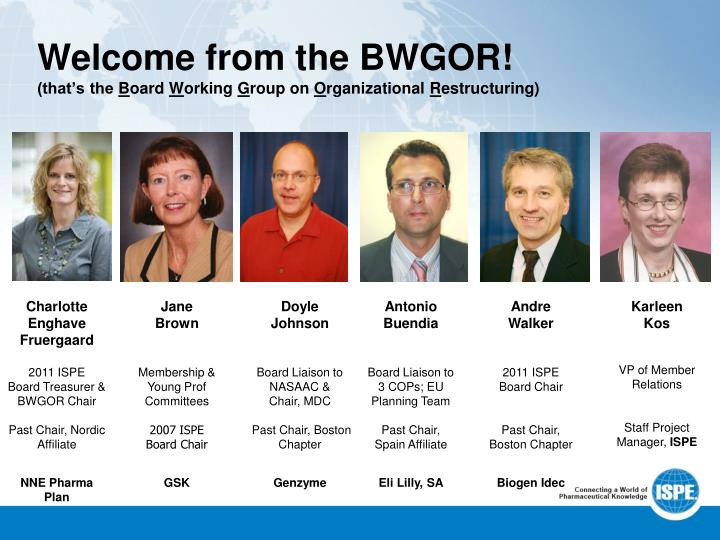 Welcome from the bwgor that s the b oard w orking g roup on o rganizational r estructuring
