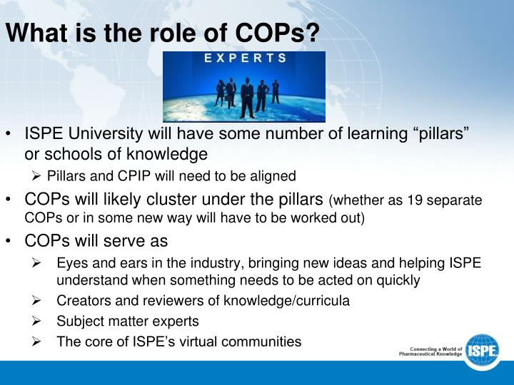 What is the role of COPs?
