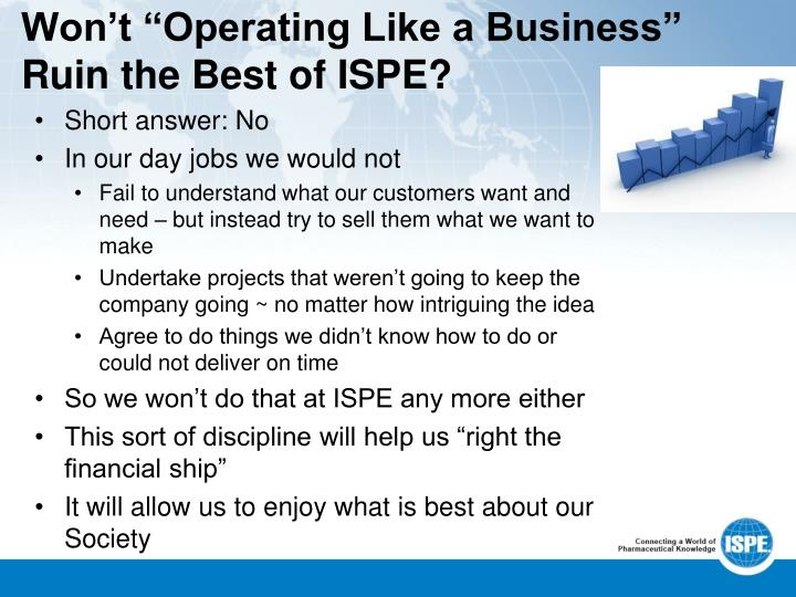 "Won't ""Operating Like a Business"" Ruin the Best of ISPE?"