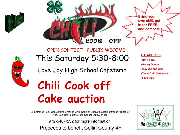 chili cook off cake auction n.