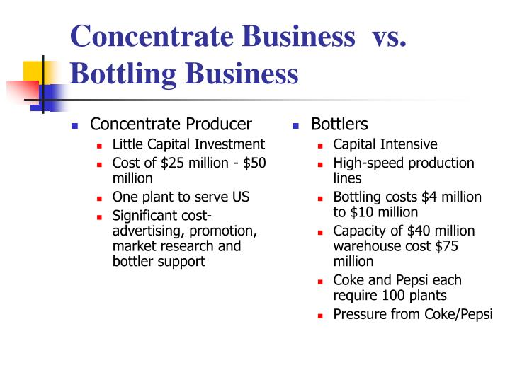 cola wars bottling vs concentrate essay Cola wars continue: coke and artificial sweeteners concentrate business vs concentrate business vs bottling business bottlers purchased adm essays.