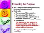 explaining the purpose