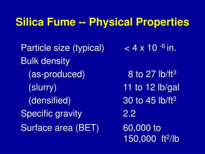 Silica Fume -- Physical Properties