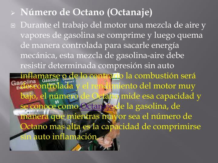 Número de Octano (Octanaje)