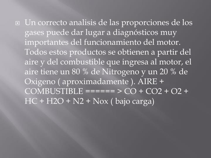 Un correcto analisis de las proporciones de los gases puede dar lugar a diagnósticos muy importantes del funcionamiento del motor. Todos estos productos se obtienen a partir del aire y del combustible que ingresa al motor, el aire tiene un 80 % de Nitrogeno y un 20 % de Oxigeno ( aproximadamente ). AIRE + COMBUSTIBLE ====== > CO + CO2 + O2 + HC + H2O + N2 + Nox ( bajo carga)