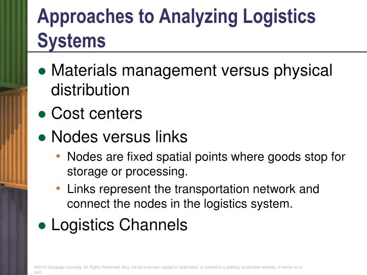 Approaches to Analyzing Logistics Systems
