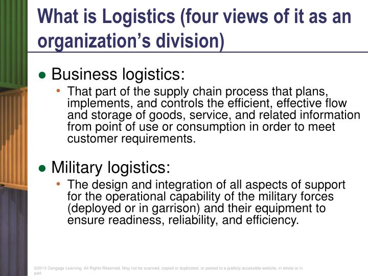 What is Logistics (four views of it as an organization's division)