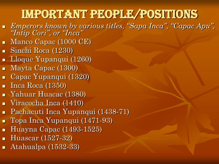 Important People/Positions