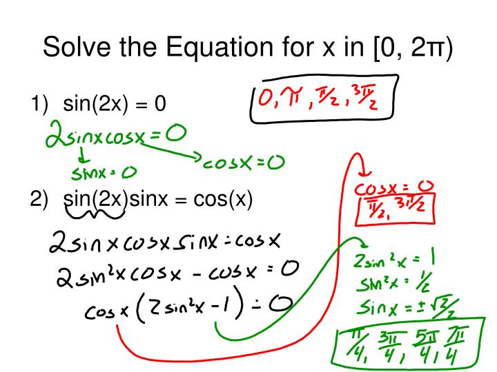 Solve the equation for x in 0 2