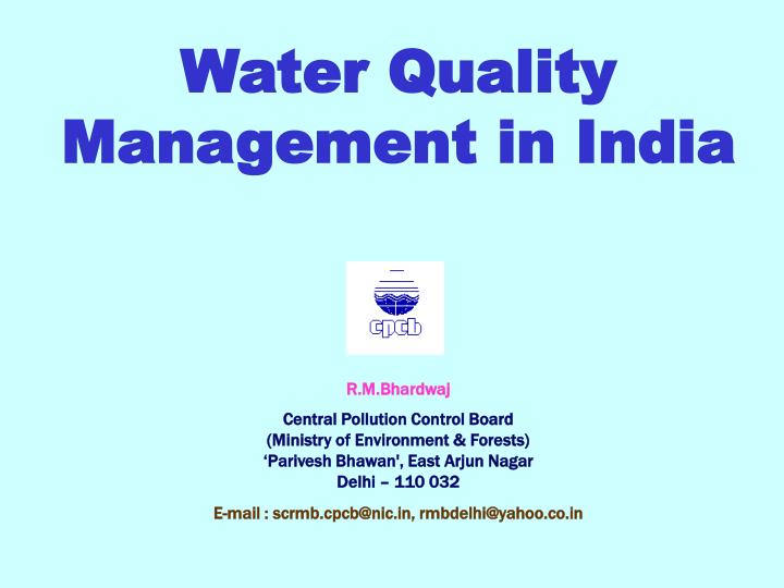 Water Quality Management in India
