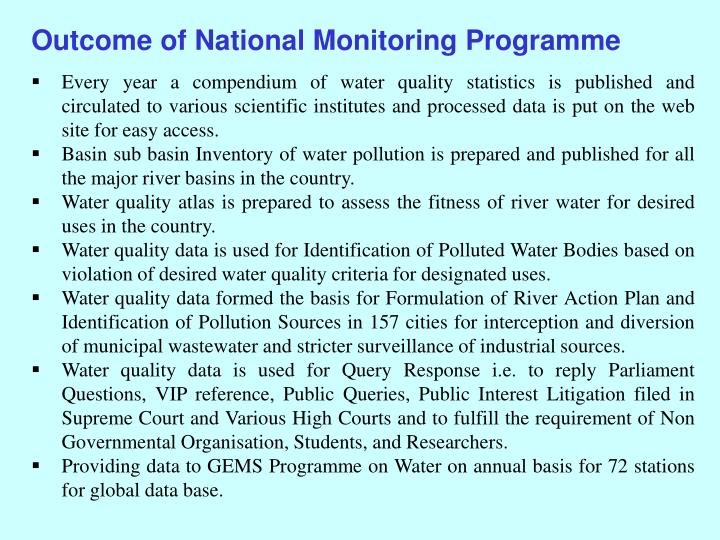 Outcome of National Monitoring Programme