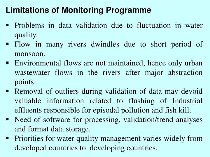 Limitations of Monitoring Programme