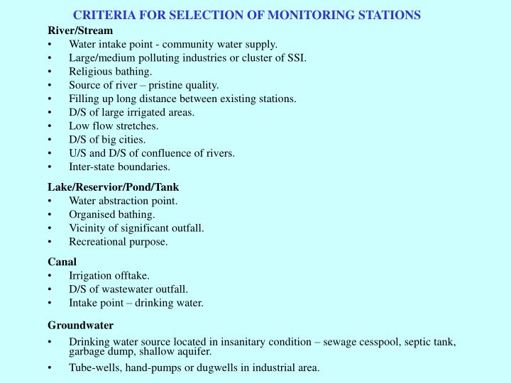 CRITERIA FOR SELECTION OF MONITORING STATIONS