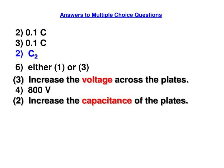 Answers to Multiple Choice Questions