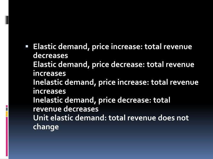 Elastic demand, price increase: total revenue decreases
