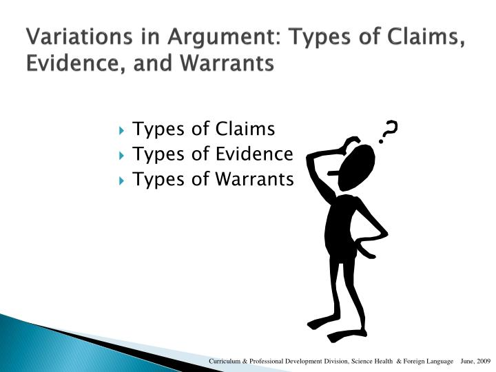 Variations in Argument: Types of Claims, Evidence, and Warrants