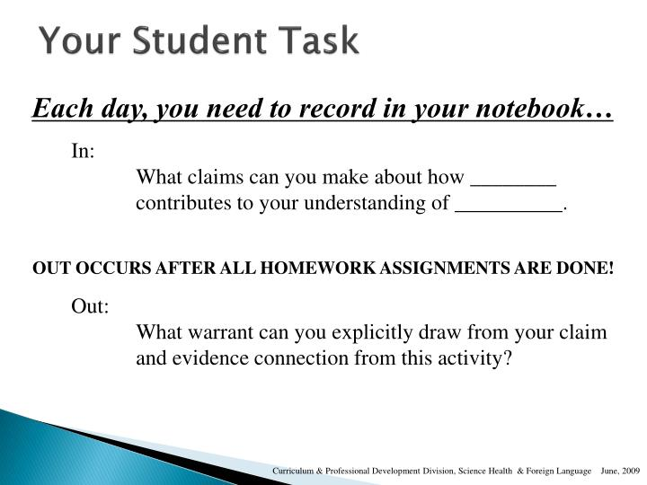 Your Student Task