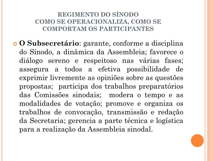 REGIMENTO DO SÍNODO
