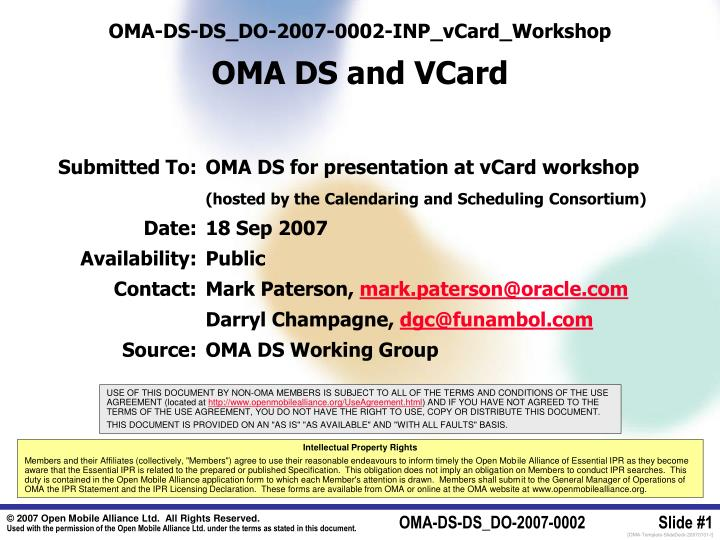 oma ds ds do 2007 0002 inp vcard workshop oma ds and vcard