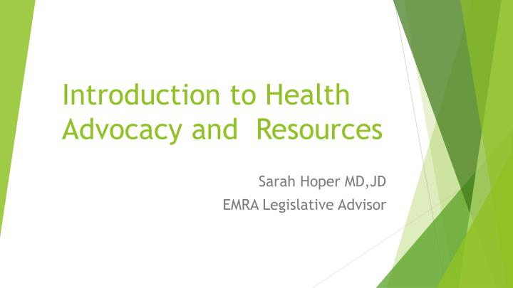 introduction to health advocacy and resources n.