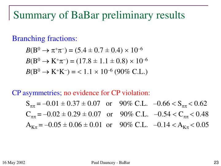 Summary of BaBar preliminary results