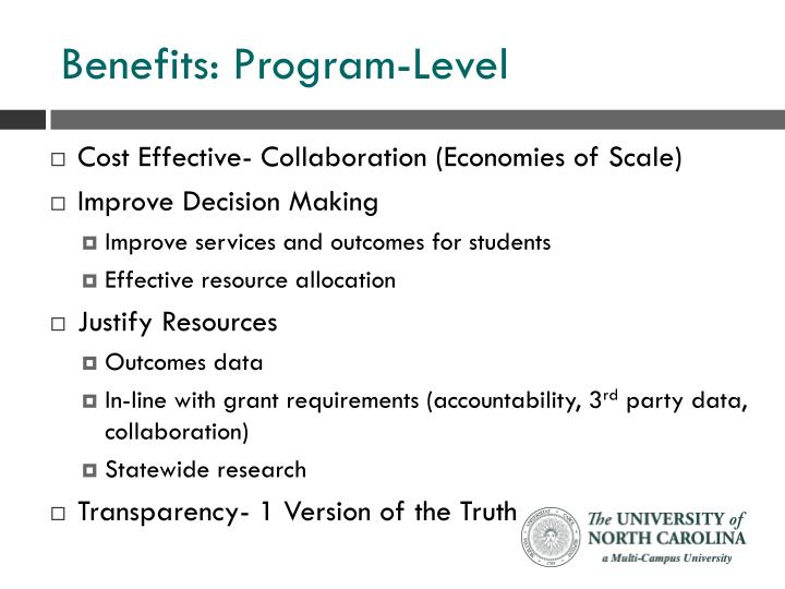Benefits: Program-Level