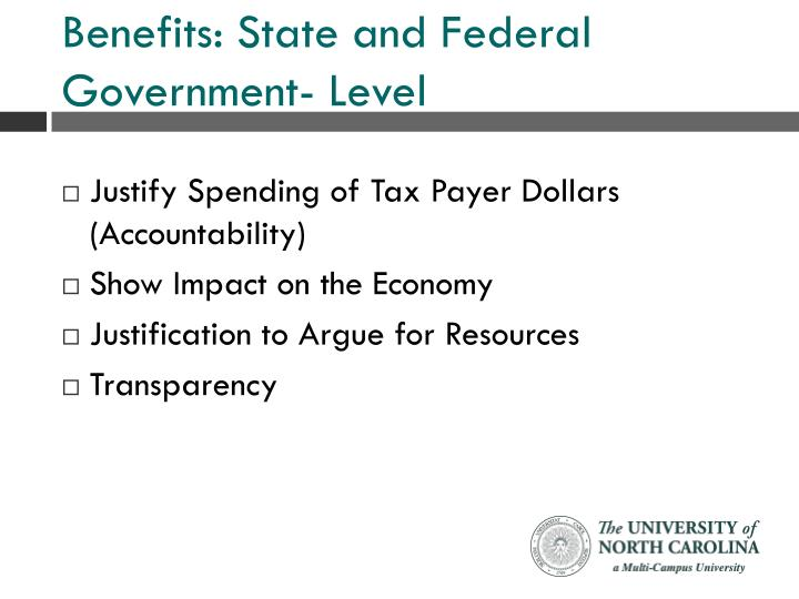 Benefits: State and Federal Government- Level