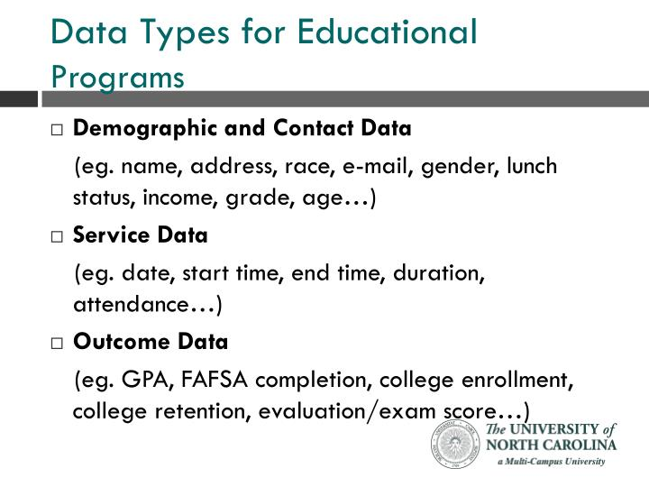 Data types for educational programs
