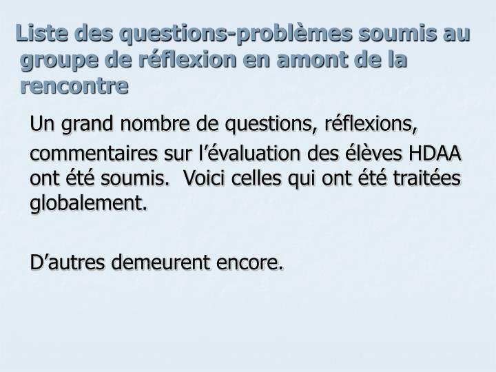 Liste des questions-problèmes soumis au groupe de réflexion en amont de la rencontre