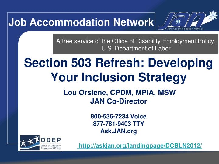 A free service of the office of disability employment policy u s department of labor