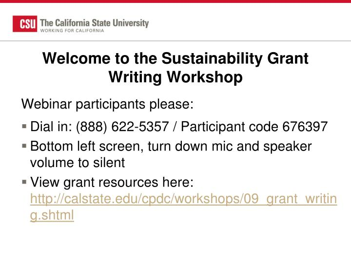 welcome to the sustainability grant writing workshop n.