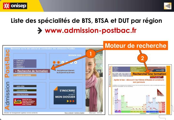 Liste des spécialités de BTS, BTSA et DUT par région
