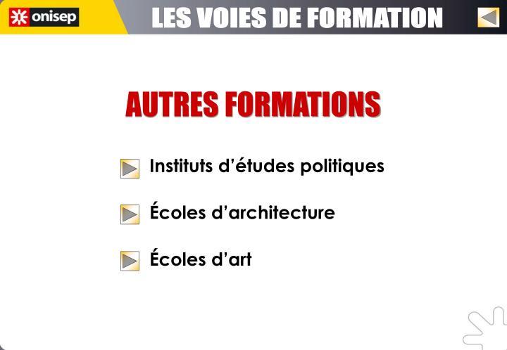 LES VOIES DE FORMATION