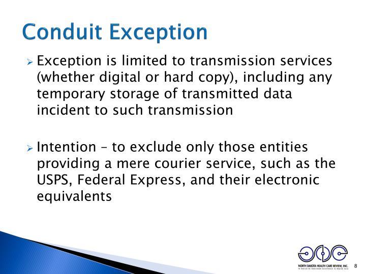 Conduit Exception