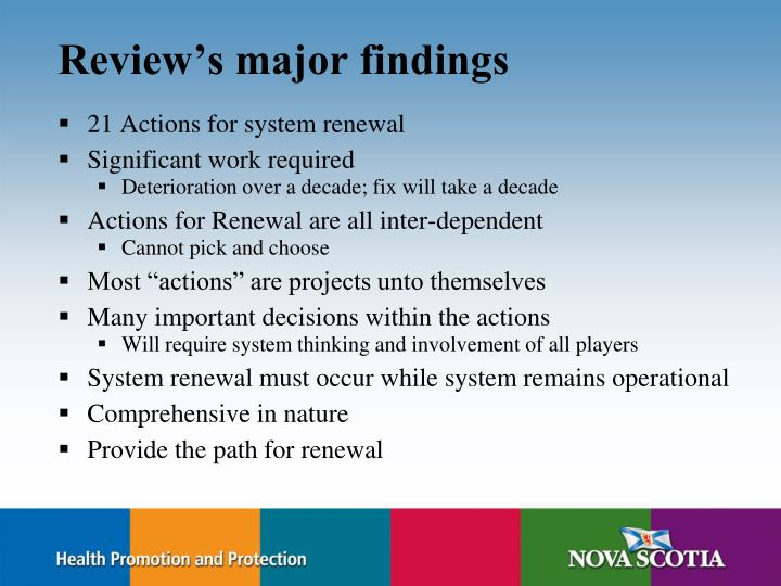 Review's major findings
